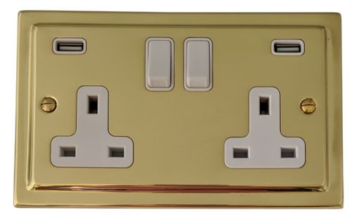 G&H TB910W Trimline Plate Polished Brass 2 Gang Double 13A Switched Plug Socket 2.1A USB